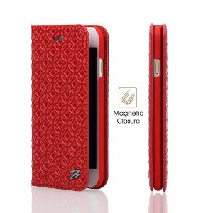 Red Fierre Shann Copper Coin Leather Wallet iPhone 8 & 7 Case