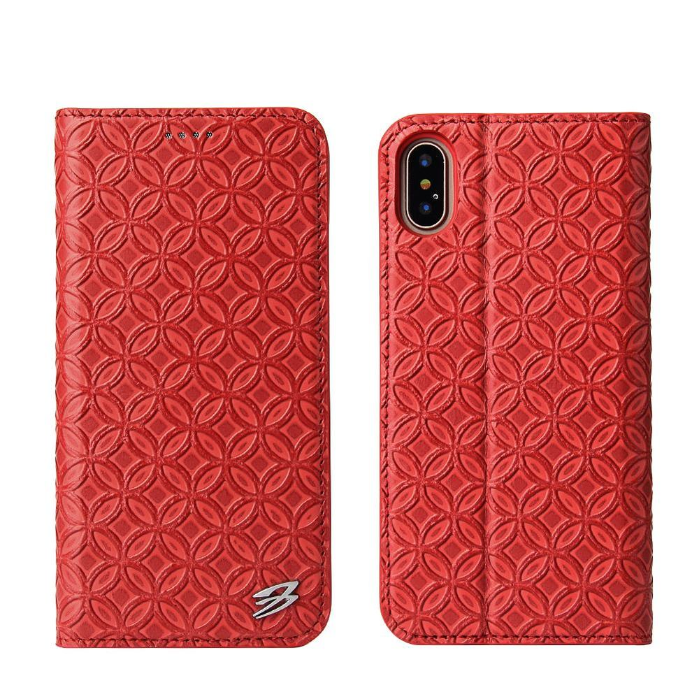 Red Fierre Shann Copper Coin Leather Wallet iPhone X Case