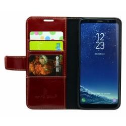 Red Fierre Shann Genuine Cowhide Leather Wallet Samsung Galaxy S8 Case