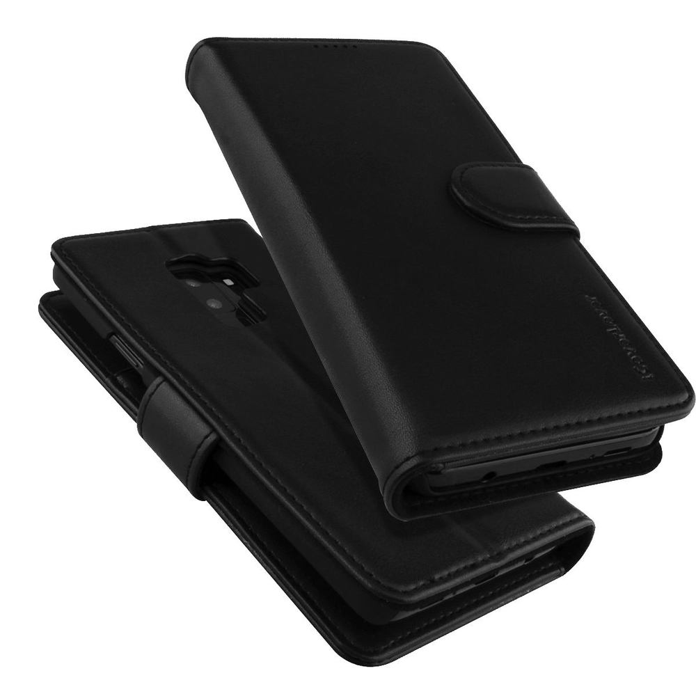 Samsung Galaxy S9 Case Black iCoverLover Genuine Cow Leather Wallet,3 Card Slots,1 Cash Slot,Magnetic Flap & Kickstand