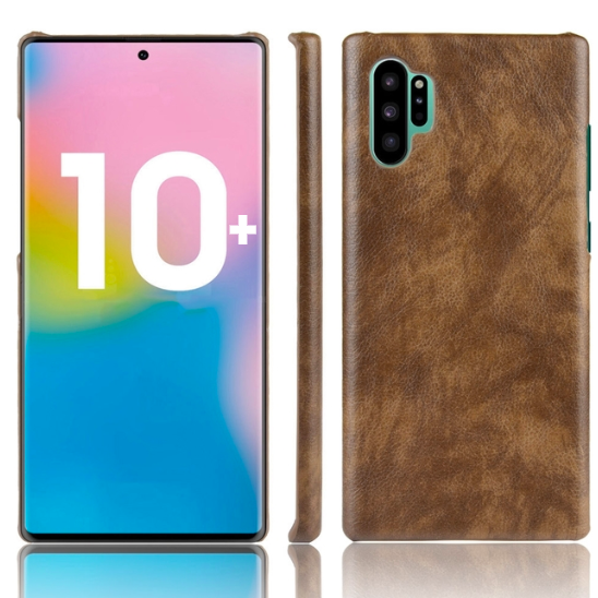 Samsung Galaxy Note 10+ Plus Case Brown Lychee Texture PC+PU Leather Shock-Proof Cover
