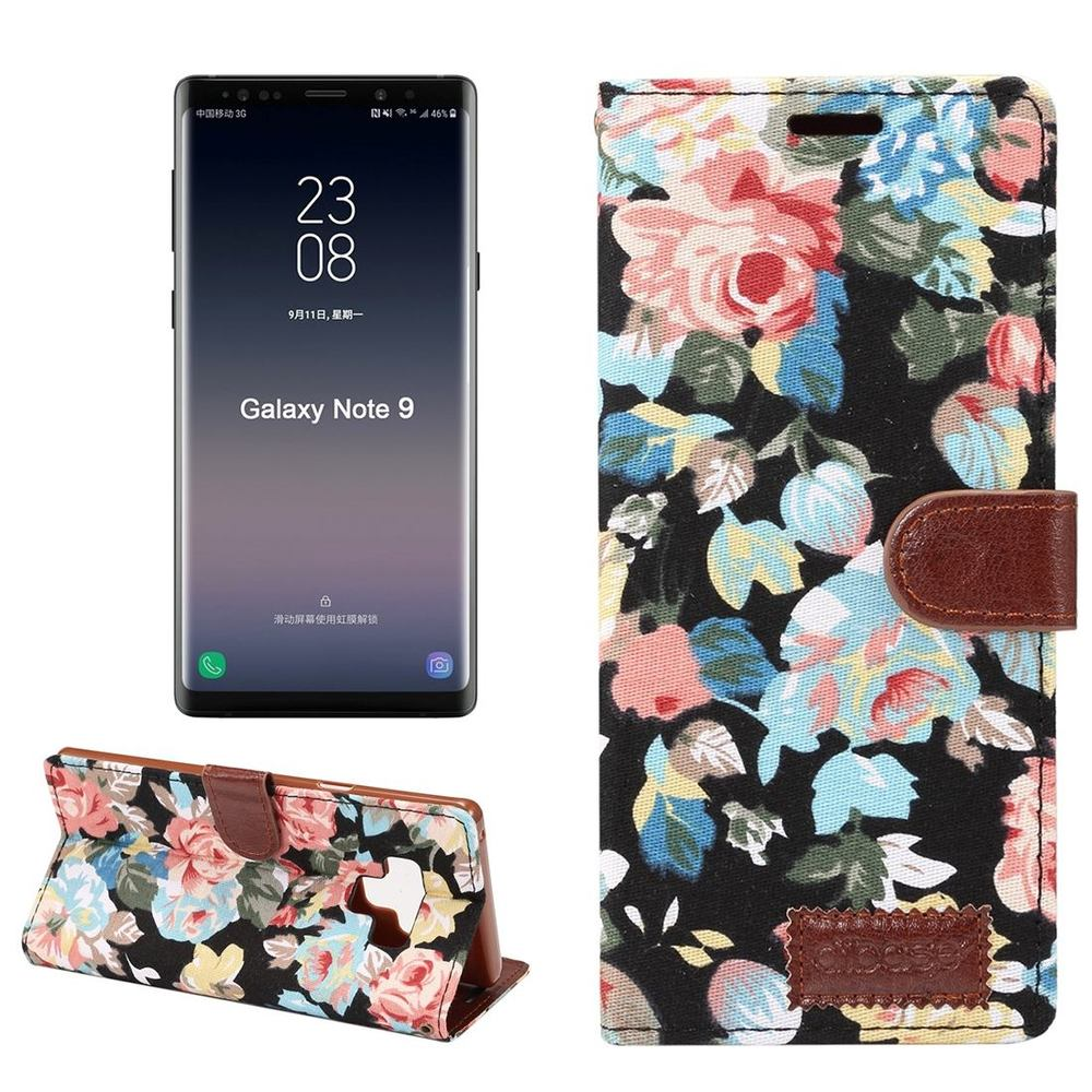 Samsung Galaxy Note 9 Case Black Flower Textile Leather Wallet Cover with Kickstand and Card Slots