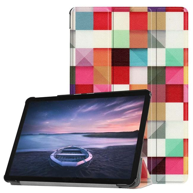 Samsung Galaxy Tab S4 10.5 inch, T830/T835 Case Colourful Magic Cubes PU Leather Folio Cover,Kickstand & Auto Sleep/Wake