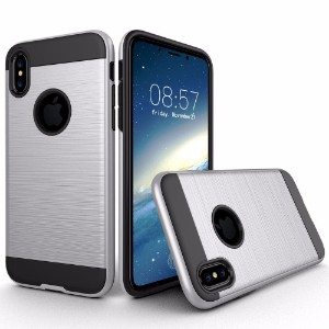 Silver Brushed Texture Armor iPhone X Case