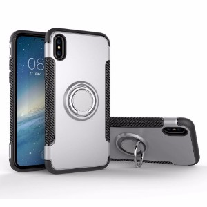 Silver Magnetic 360-degree Rotation Ring Armor iPhone X Case