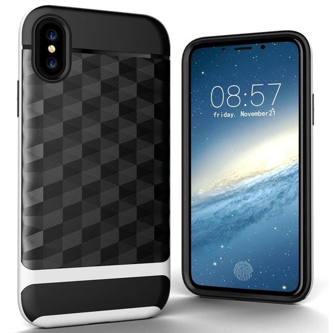 White 3D Diamond Armor iPhone X Case