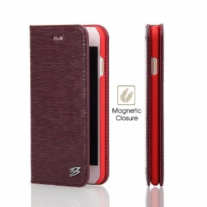Wine Red Fierre Shann Toothpick Genuine Cow Leather Wallet iPhone 7 PLUS Case